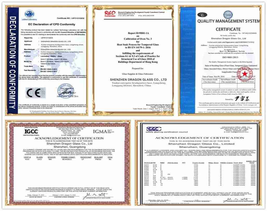 Shenzhen Dragon Gass certifications for tempered, lamianted, insulated glass