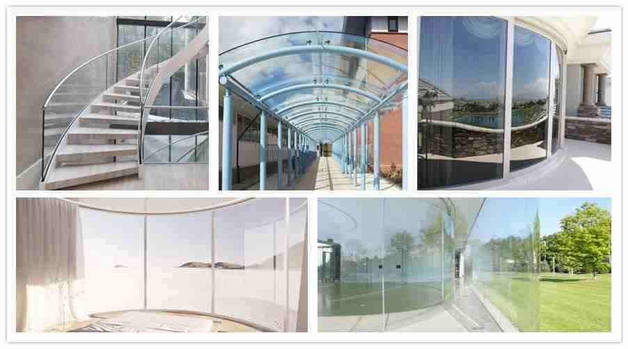 aplicaciones curvas de vidrio templado