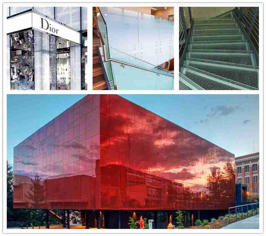 Shenzhen Dragon Glass aplicações de vidro de impressão digital para fachada, grade, vitrine, escadas, etc.