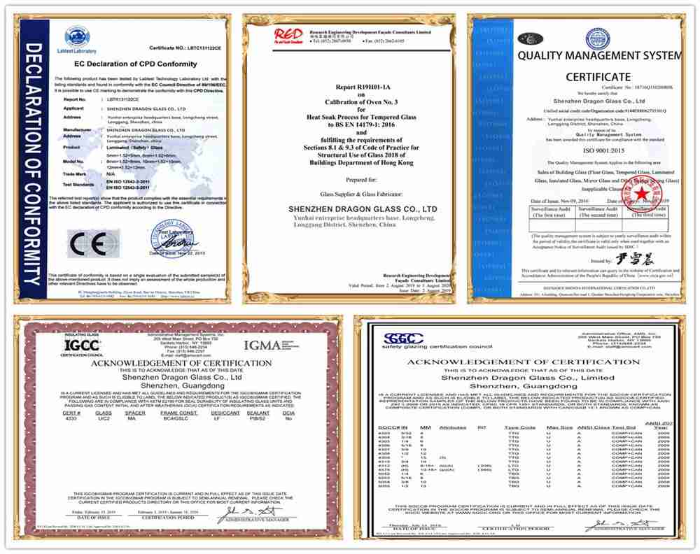 shenzhen dragon glass certifications