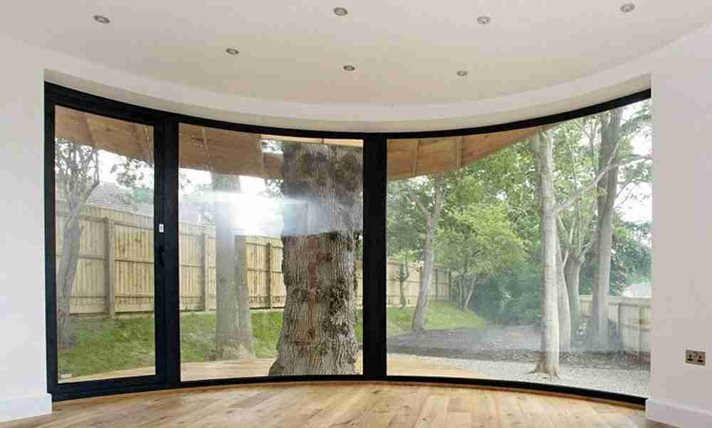 curved glass windows