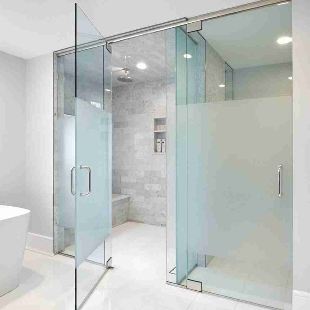 Sand blasted glass shower doors