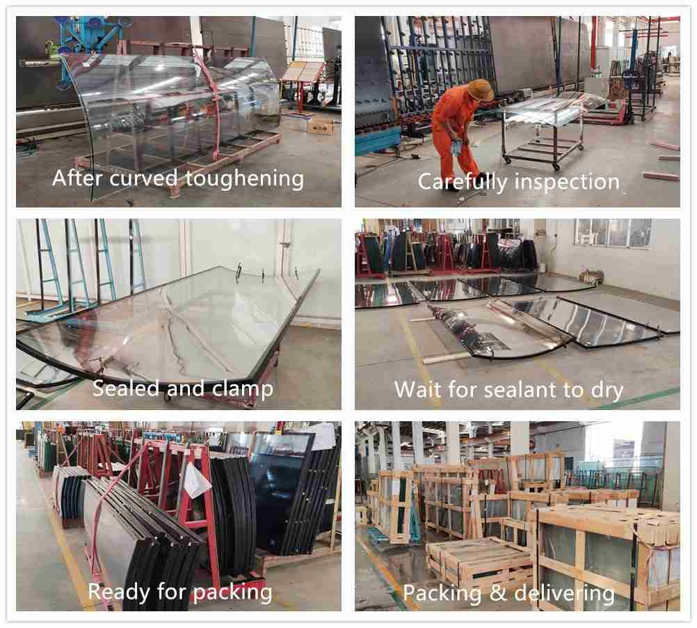 Shenzhen Dragon Glass curved glass windows production details.
