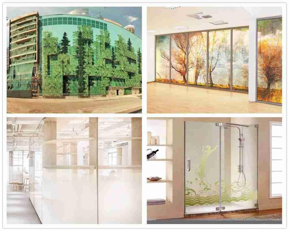 aplicações de vidro de impressão digital para o chuveiro da parede de divisão de grades de fachada