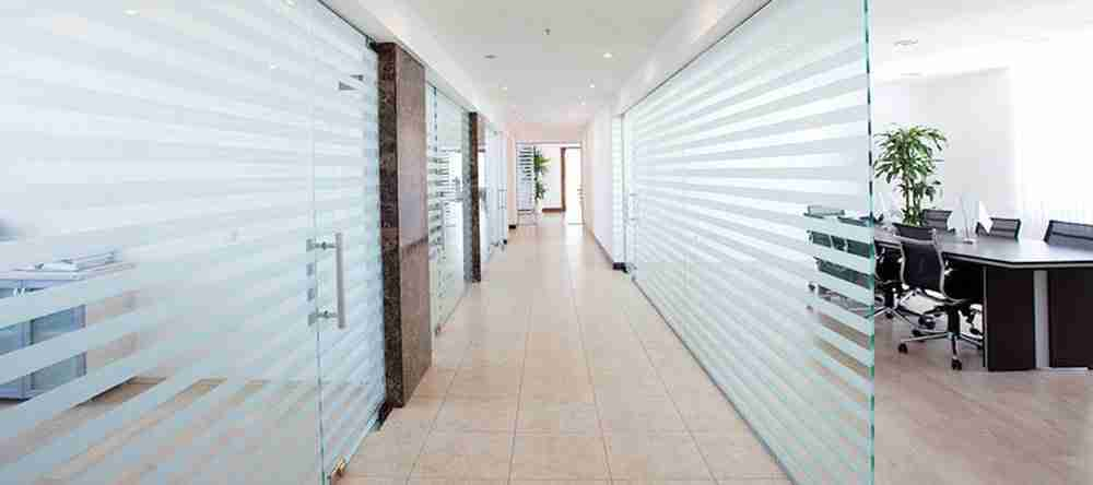 Sandblasted glass for partition walls