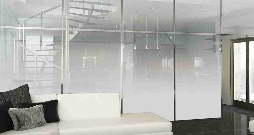 Gradient color ceramic frit glass partition wall with excellent design.
