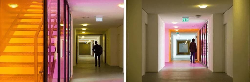 تصاميم غرفة زجاجية مغلفة ملونة