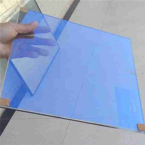Blue color heat reflective coating glass