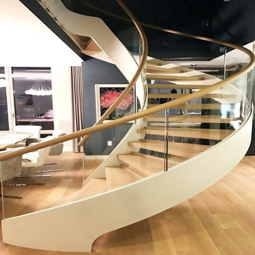 curved toughened glass railing for home design